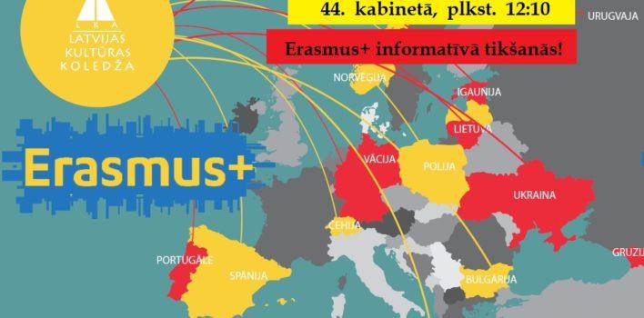 ERASMUS+ INFORMATĪVĀ TIKŠANĀS LKK STUDENTIEM 20. MARTĀ!